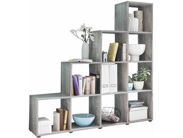Raumteilerregal im Treppen Design Grau