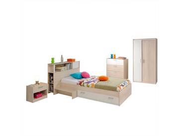Jugendzimmer Einrichtung in Weiß Akazie komplett (5-teilig)