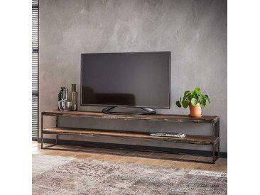Fernsehertisch aus Recyclingholz und Stahl 180 cm breit