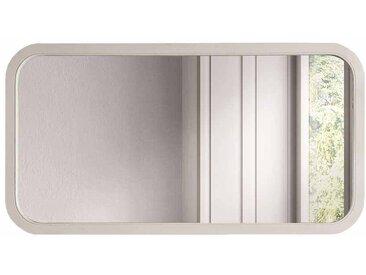 Design Wandspiegel in Weiß Eiche massiv abgerundet