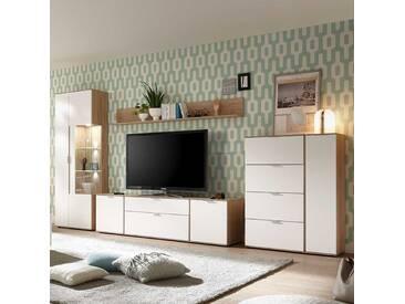 Wohnzimmer Wohnwand In Weiß Und Eiche 370 Cm (4 Teilig)