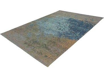 Vintage Teppich in Taupe und Blau Kurzflor