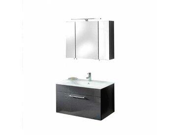 Badezimmer Set in Anthrazit Hochglanz mit Waschtisch (2-teilig)