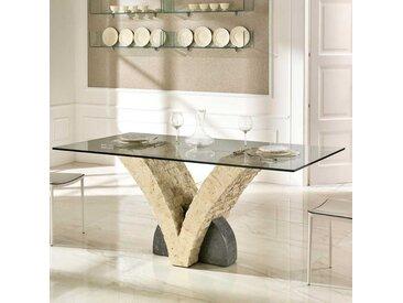 Esszimmertisch mit Steinfuß Glasplatte