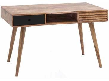Design Schreibtisch aus Sheesham Massivholz Retro