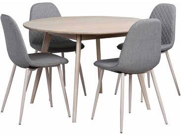 Essgruppe mit rundem Tisch Eiche Grau (5-teilig)