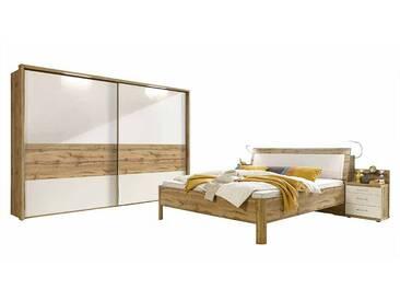 Schlafzimmer Einrichtung in Weiß Eiche 180x200 cm (4-teilig)