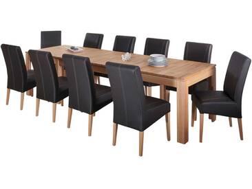 XL Tischgruppe Mit Kernbuche Massivholztisch 10 Polsterstühle (11 Teilig)