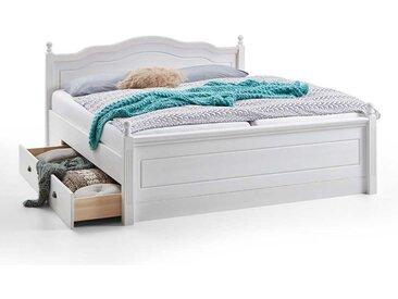 Landhaus Doppelbett in Weiß Kiefer massiv Schubladen