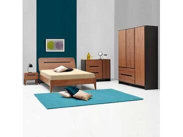 Schlafzimmereinrichtung im Retro Look Walnussfarben und Schwarz (5-teilig)