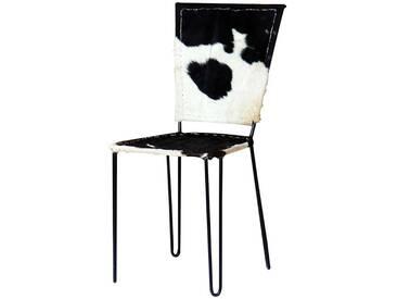 Echtfell Stuhl in Schwarz Weiß gefleckt modern