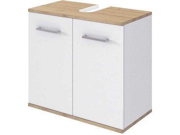 Waschtischunterschrank in Weiß und Buchefarben 2 türig