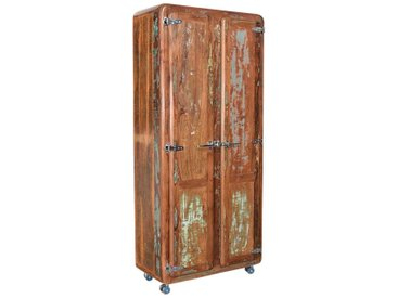 Rollbarer Garderobenschrank aus Massivholz Shabby Chic Design