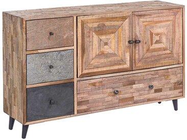 Kommode aus Teak Recyclingholz vier Schubladen und zwei Türen