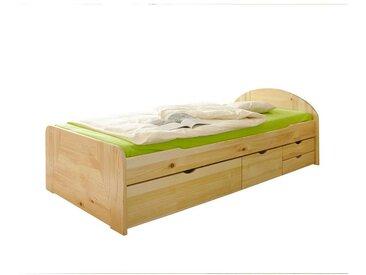 Funktionsbett aus Kiefer Massivholz Schubladen