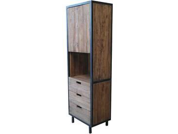 Bücherschrank aus Teak Massivholz und Metall 185 cm hoch
