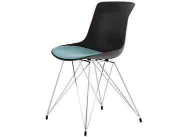 Schwarzer Küchenstuhl aus Kunststoff und Metall Sitzpolster in Petrol (2er Set)