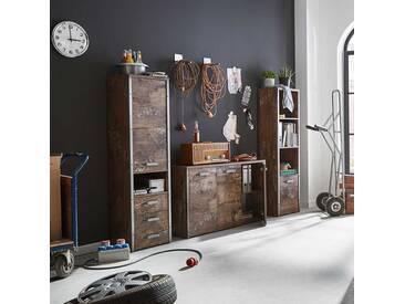 Arbeitszimmermöbel Set in Holzpaletten Optik Loft Style (3-teilig)