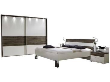 Schlafzimmereinrichtung in Weiß Eiche Trüffel (4-teilig)