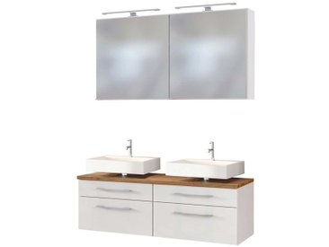 Doppelwaschtisch und Spiegel in Weiß und Wildeiche Dekor LED Beleuchtung (3-teilig)