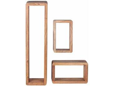 Hängeregal Set aus Akazie Massivholz abgerundet (3-teilig)