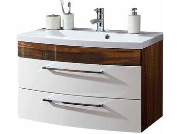 badezimmer waschbeckenschrank in weiss hochglanz walnuss 2 schubladen
