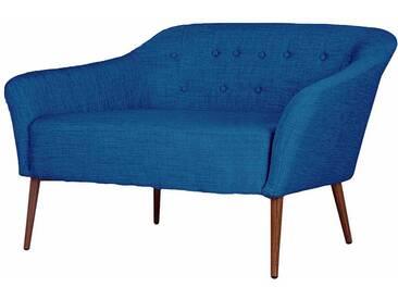 Retro Couch in Blau Webstoff