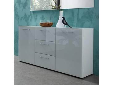 Wohnzimmer Sideboard in Weiß Glas beschichtet 145 cm breit