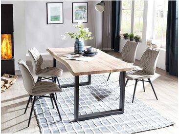 Baumkanten Tischgruppe in Eiche White Wash massiv Beige Kunstleder (5-teilig)