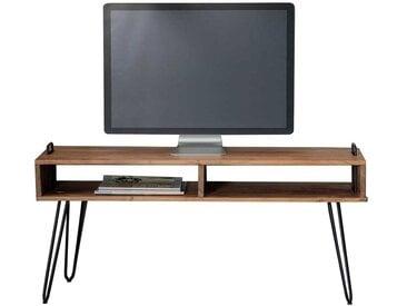 Fernsehtisch aus Akazie Massivholz und Stahl 110 cm breit