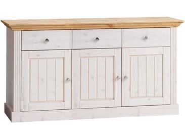 Massivholz Sideboard in Weiß Landhausstil