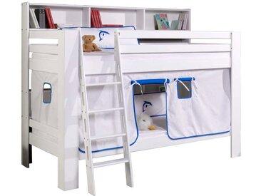 Kinderstockbett mit Regal Vorhang in Blau Weiß