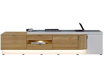tv sideboard in weiss mit eiche massivholz 260 cm