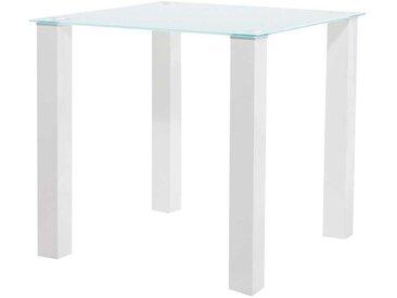 Esszimmertisch in Hochglanz Weiß Klarglasplatte