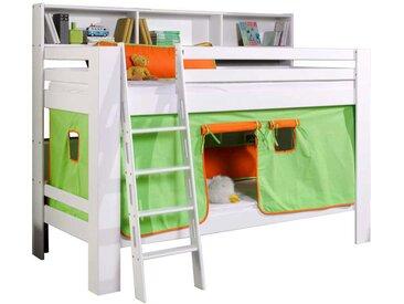 Stockbett mit Vorhang in Grün Orange Weiß