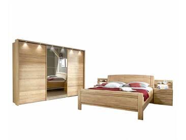 Schlafzimmereinrichtung aus Eiche teilmassiv Schiebetüren Kleiderschrank (4-teilig)