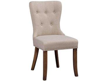 Esszimmerstühle in Beige Webstoff Chesterfield Look (2er Set)