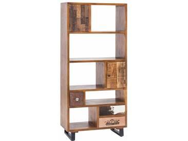 Standregal im Vintage Design Türen und Schubladen massiv
