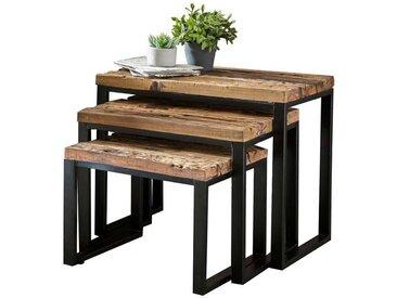 Beistelltisch Set aus Recyclingholz Eisen (3-teilig)