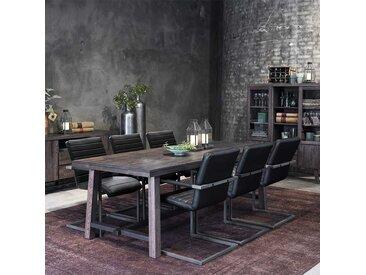 Tischgruppe in Eiche dunkel Grau und Schwarz modern (7-teilig)