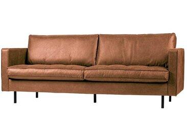 Wohnzimmer Sofa in Cognac Braun Recyclingleder 230 cm breit