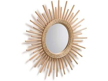 Design Spiegel aus Rattan Sonnen Optik