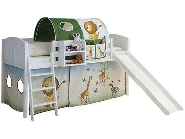 Kinderzimmerbett mit Rutsche Tunnel und Vorhang im Zootier Design