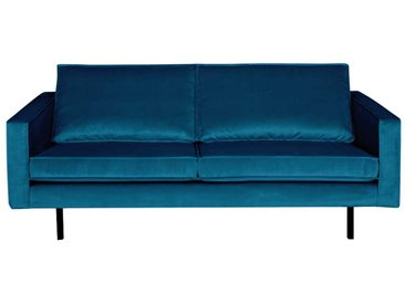 Couch in Blau Samt Retro Style