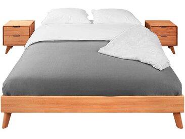 Doppelbettgestell aus Kernbuche Massivholz Kopfteil (3-teilig)