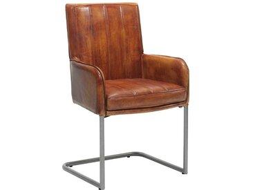 Freischwinger Stuhl in Cognac Braun aus Echtleder mit Metallgestell (2er Set)