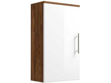 Badezimmer Hängeschrank in Weiß Hochglanz Walnuss 40 cm breit