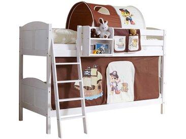Kinderdoppelhochbett in Weiß Braun Piraten Design