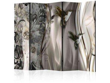 Paravent Raumtrennwand mit Ranken und Vögel Motiven 225 cm breit