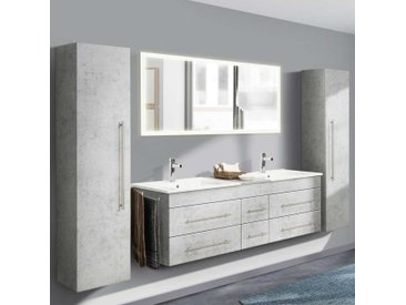 Badmöbel Kombination mit Doppel Waschtisch Beton Grau (4-teilig)